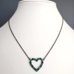 Blue and green cz heart necklace